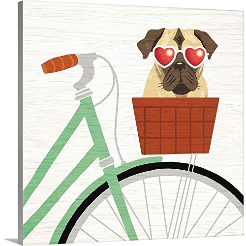 GREATBIGCANVAS Gallery-Wrapped Canvas Entitled Beach Bums Pug Bicycle I by Michael Mullan 35