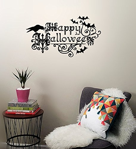 siyion Decorative Wall Stickers Removable Bats for Happy Halloween Quotes Rooms Crow Handmade Decorations Halloween Kids and Party Nursery Halloween -