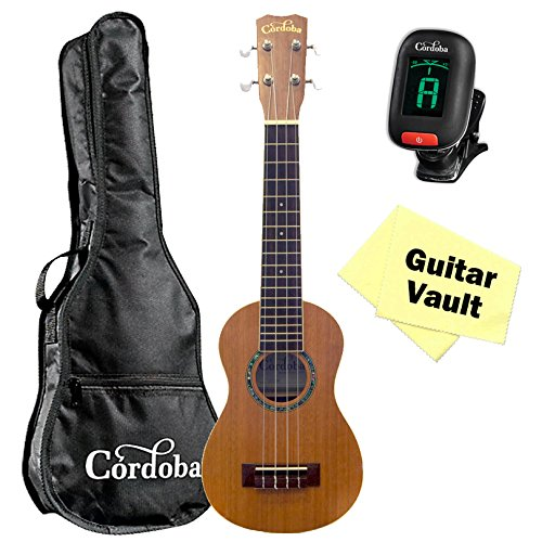 Cordoba 15SM Soprano Ukulele with Tuner, Cloth, and Gig Bag by Cordoba
