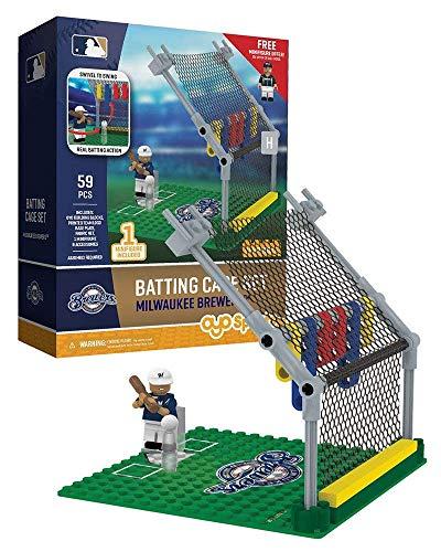 Oyo Sportstoys MLB Milwaukee Brewers Baseball Batting Cage Playset Minifigure, Small, White (White Brewers Milwaukee Baseball)