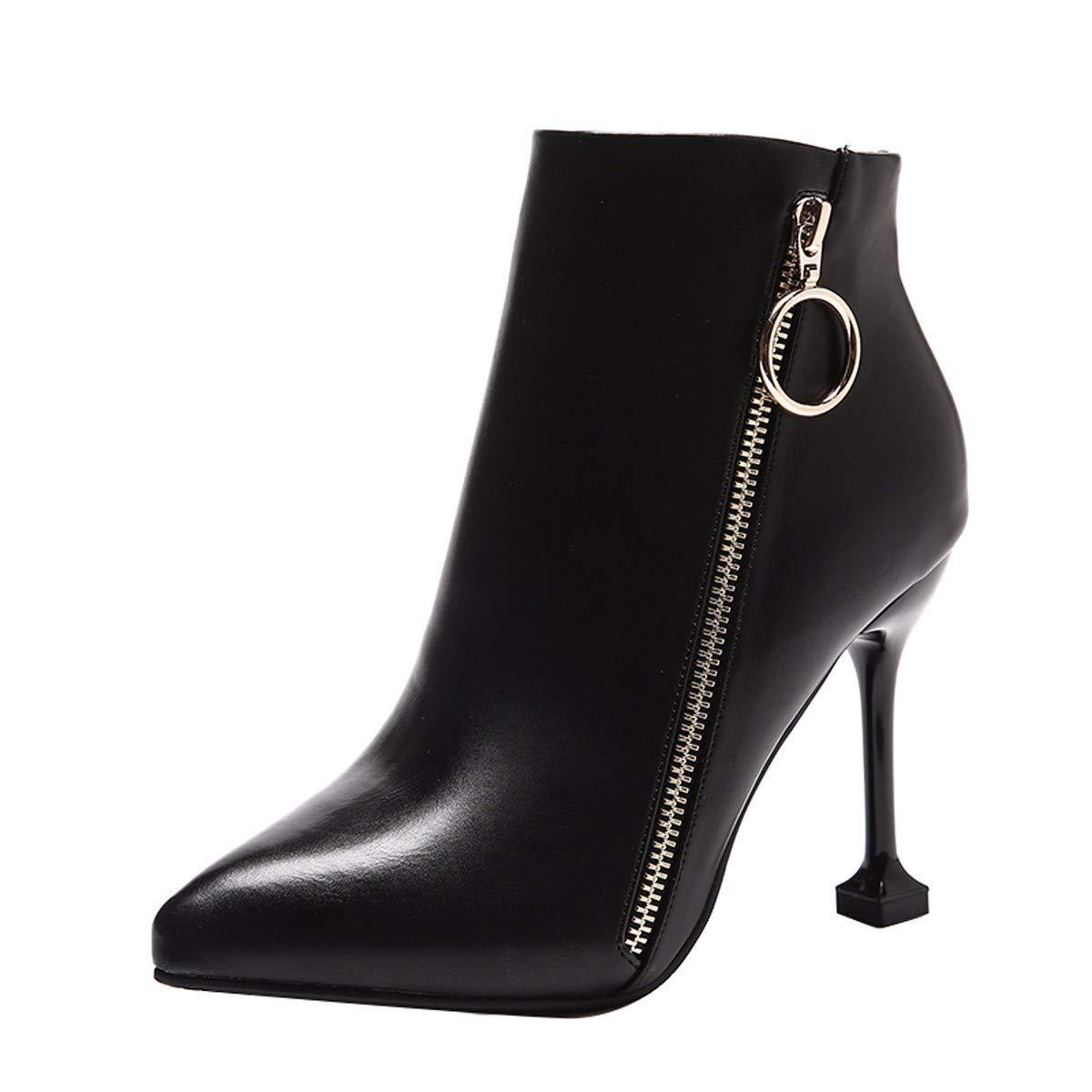 noir Thirty-seven HBDLH Chaussures pour Femmes Fermeture des Bottes De 10 Cm avec des Têtes Pointues Martin Bottes Joker Bottes Nu Bottes Mode Sex Appeal.