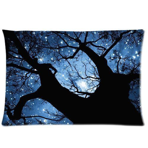 Girls Boys Pillowcases Pillows Covers Cases Custom Blue Sky Shining Star Tree Cool Design Printed Zippered Decoration 2030(Twin Sides) Hotel,Cafe,Car,Sofa Throw Pillow Case Cushion Cover
