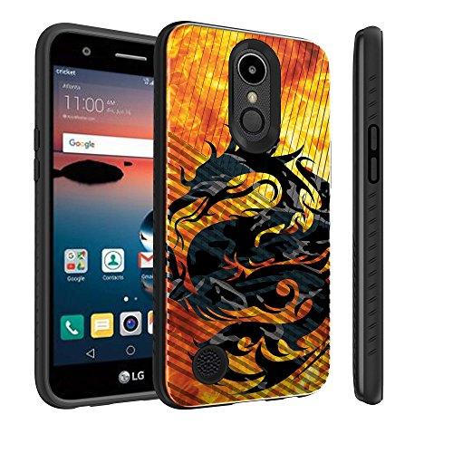 Untouchble Case for LG K20, LG Grace LTE, LG Harmony Case, LG K20 Plus Case [Stripe Force] Black Slim Textured Case Shock Resistant Edges with Design - Red Fire Dragon