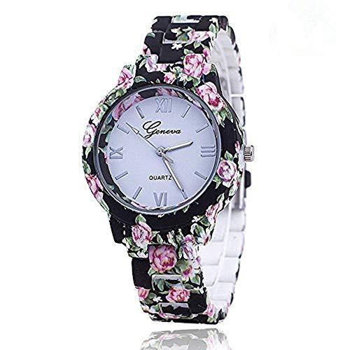 New Floral Flower Geneva Watch Bracelet Watch Women Dress Watches Quartz Wristwatch (Bracelet Link Geneva Watch)