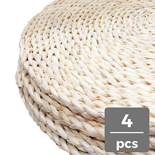 "Cion Round Placemats 15"",Woven Placemats, Braided Place Mats,Natural Chargers (15"" Round, Set of 4),Rustic Placemats"