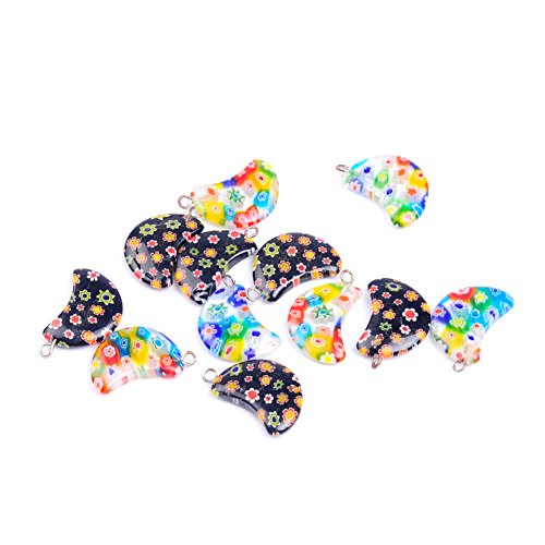 10Pcs/lot Moon Shape Multicolor Lampwork Glazed Glass Pendant Charm Pendant For Necklace Jewelry Making (Mixed) ()