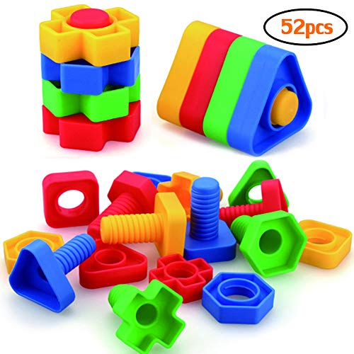 Jumbo Nuts and Bolts Toys for Toddlers Preschoolers Kids, STEM Educational Montessori Building Construction Screw Matching Activities for 3,4,5 year old Boy and Girl.