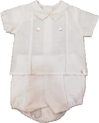 PAZ Rodriguez - Camisa Y PANTALÓN Corto Perla - Conjunto Bebe Blanco: Amazon.es: Ropa y accesorios