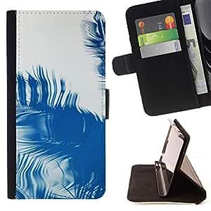 For Sony Xperia M4 Aqua Case , Palma Reflexión Tropical Verano Azul- la tarjeta de Crédito Slots PU Funda de cuero Monedero caso cubierta de piel