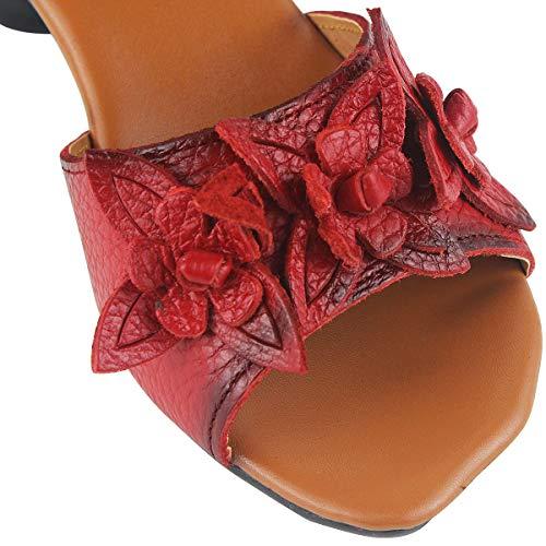 wealsex Bride Sandale Elégant Mode Cuir Femme Chaussure Rouge Scratch Ouvert Carre Confort Eté Bout Cheville Talon cm Fleurs 4 razwTqdr