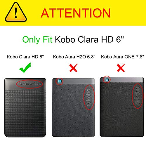 "Fintie Case for Kobo Clara HD - Slim Fit Premium Vegan Leather Folio Cover with Auto Sleep/Wake for Kobo Clara HD 6"" eReader, Classic Black"