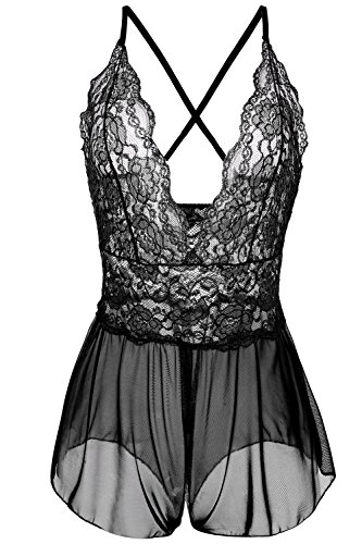 Nukawa Womens Open Crotch Sexy Lingerie Lace Mesh Crotchless panty Babydoll for Sex (Sexiest Plus Size Outfits)