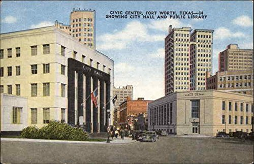 Civic Center showing City Hall and Public Library Fort Worth, Texas Original Vintage - Fort Worth City Center