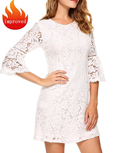 Zeagoo Women's 3/4 Sleeve Lace Cocktail Party Dress (XX-Large, (White Cocktail)