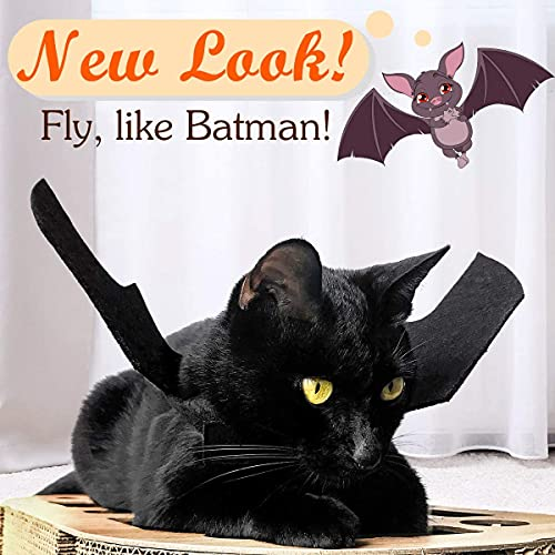 Pet Cat Bat Wings for Halloween Party Decoration, Puppy Collar Leads Cosplay Bat Costume,Cute Puppy Cat Dress Up Accessories (M)