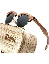 25c29e42d1 Wood Semi Rimless Polarized Sunglasses Women Men Retro Brand Clubmaster Sun  Glasses in Wood Box