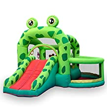 Combo Large Bouncy Castle,Children's Inflatable Trampoline Bounce House Frog Bouncy House Castle with Air Blower Water Slide