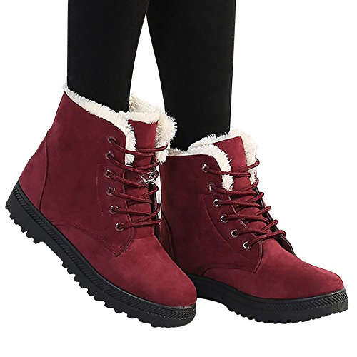 Harence Suede Snow Red Boots Platform Up Flat Fashion Women's Sneaker Cotton Winter Lace Shoes rrq5Tfx