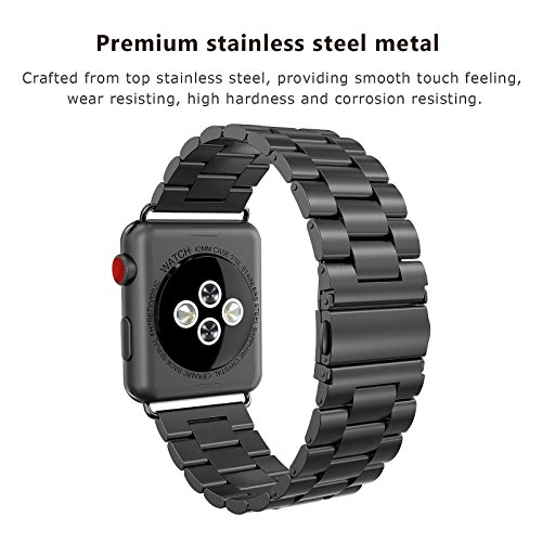 SWEES Stainless Steel Metal Bands Compatible iWatch 42mm Apple Watch Series 3, Series 2, Series 1, Sports & Edition, Replacement Metal Link Strap Double Button Butterfly Folding Clasp, Space Gray by SWEES (Image #1)