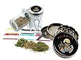 Poker Skull - 2.5'' Zinc Alloy Grinder & 75ml Locking Top Glass Jar Gift Set # ZCC-111616-240