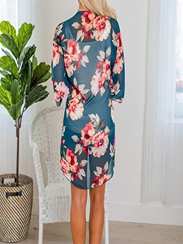 Chiffon Cardigan, Flower Print Open Front Shawl Kimono Coat Jackets Cover up Blouse Tops(Green,S) by yijiamaoyiyouxia Blouse (Image #2)