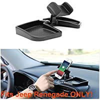 ELONN Cell Phone Holder for Jeep Renegade,No Blocking for Sight,360 Degree Rotate w/ Durable Storage Box,Universal Phone Holder for iPhone, Galaxy S5/S6/S7/S8, Google, LG, Huawei and More
