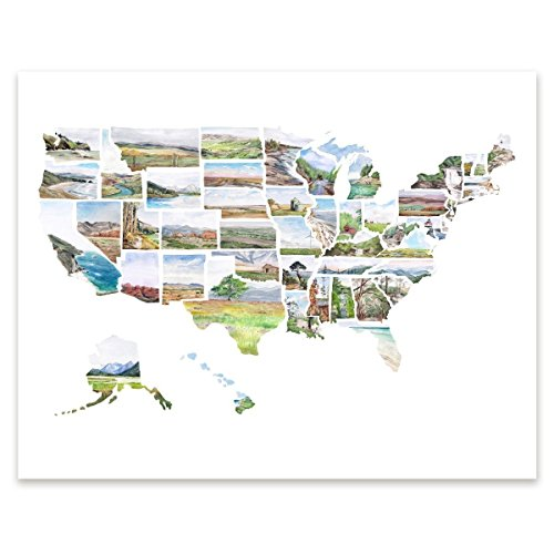 United States watercolor map print US poster USA wall art - Travel Customer Services Lodge