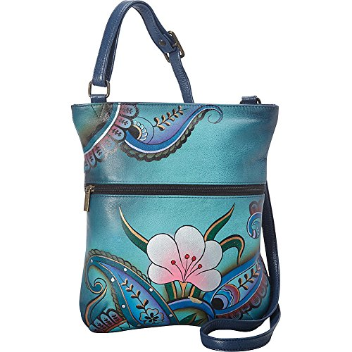 Anuschka Handpainted Leather Slim Cross Shoulder Bag, Denim Paisley/Floral by Anna by Anuschka