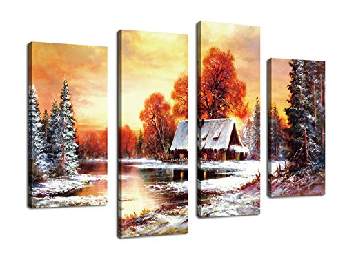[Wall Art Decor Winter Landscape Sunset Red Tree River with Snow Painting Canvas Prints - 4 Panel Large Modern Giclee Art Reproduction Framed Ready to Hang for Home and Office Decoration] (Snow Family Canvas Art)