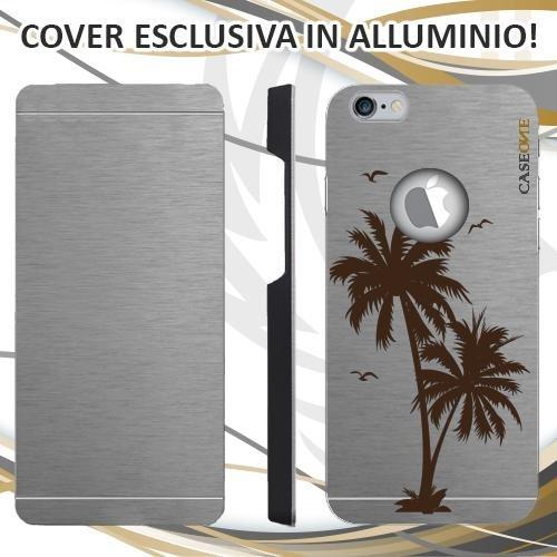 CUSTODIA COVER CASE PALM SUMMER PER IPHONE 6 ALLUMINIO TRASPARENTE