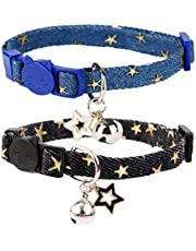 BoomBone Star Cat Collar with Bell,2 Pack Puppy Collars Breakaway with Star Charms