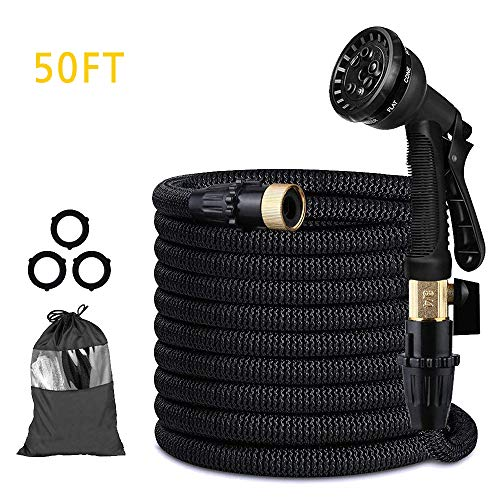(Lecone Expandable Garden Hose, 50FT Triple Layer Latex Core with Solid Brass Fittings Water Hose, Metal 8 Function Spray Nozzle for Plant Watering Car Washing Pet Shower)