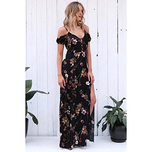 IMJONO Mujeres Verano Vintage Boho Long Maxi Vestido De Fiesta De La Playa Vestido Floral Sundress