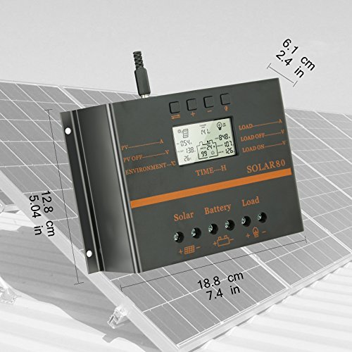 80A Solar Charge Controller, 12V 24V System 1920W Solar Power PWM Charge Controller by PowMr (Image #2)