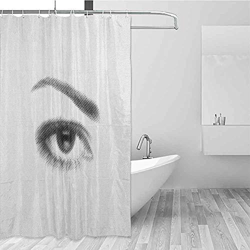 SONGDAYONE Durable Shower Curtain Eyelash 3D Style Illustration of Eye with Dots on White Background Retro Haltone Effect Decorated Bathroom Black White W60 xL72