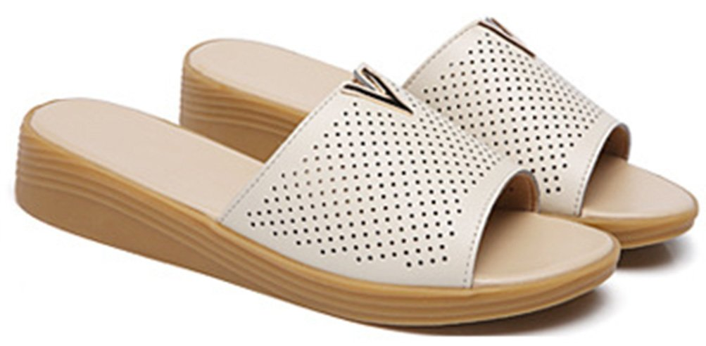 Easemax Damen Einfach Peep Toe Keilabsatz Perforiert Pantoffeln Beige 35 EU kqaDC9CRl