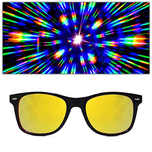 Special Edition Red + Black Two Tone Rave Diffraction Glasses w/ Gold Mirror Firework Lenses