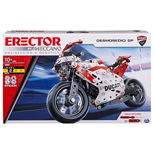 Meccano Erector Ducati GP Model Motorcycle Building Kit, Stem Engineering Education Toy, 358 Parts, for Ages 10 & Up from Meccano