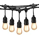 49Ft LED Outdoor String Lights, Commercial Globe Lights with 15 Edison Vintage Dimmable Bulbs, Weatherproof Connectable Hanging Strand for Bistro Porch Patio Garden Deck Cafe UL Listed – Black