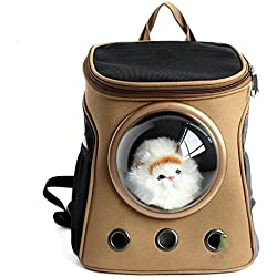 Rumfo Space Capsule Astronaut Pet Carrying Breathable Shoulder Backpack for Kitty Puppy Small Dog Outdoor Breathable Adventure or Travelling Bag Case (Khaki)