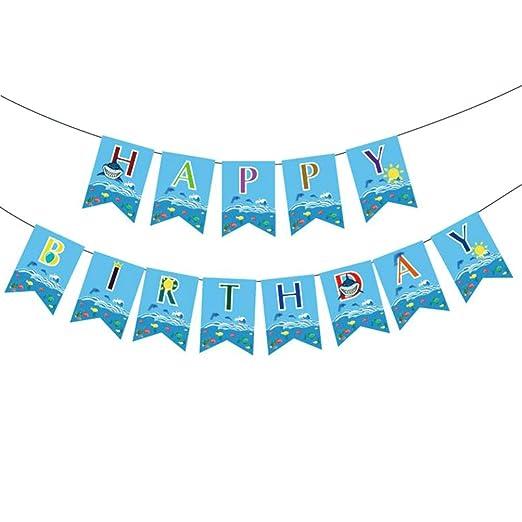 Amosfun tiburón banner fiesta de cumpleaños marine banner ...