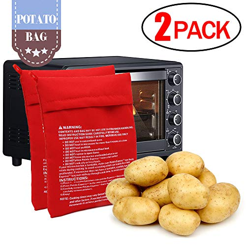 (CCCSEE Potato Express Microwave Potato Bag Red,Washable and Reusable,Pouch Cooking in Just 4 Minutes Cooker Bag (2 Pack))