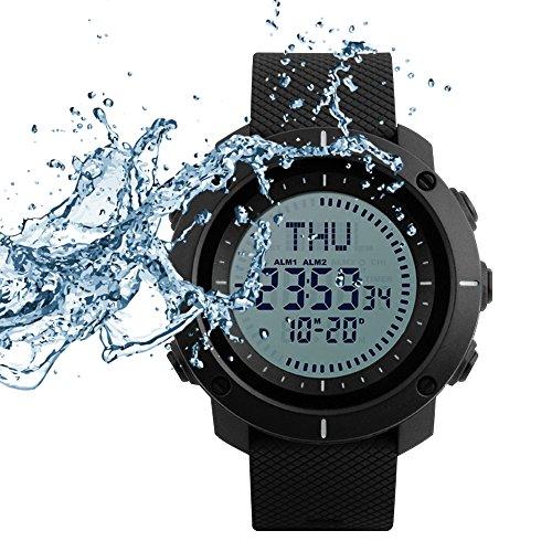 SKMEI Digital Watch Sports Survival Compass 50 Meter Waterproof Large Face Wristwatch Stopwatch (Digital Compass Wrist Watch)