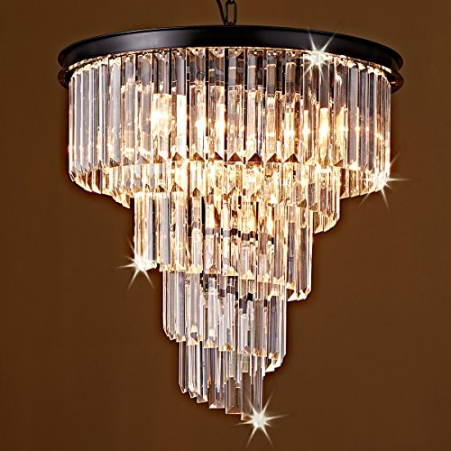 Saint Mossi Modern K9 CrystalBar Lantern-shaped Raindrop Chandelier Lighting Flush mount LED Ceiling Light Fixture Pendant Lamp for Dining Room Bathroom Bedroom Livingroom 9 E12 Bulbs Required H20 D20 by Saint Mossi