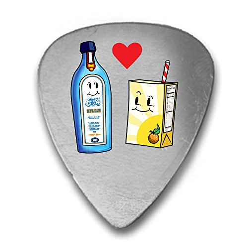 (Gin Loves Orange Juice Cute Humor Design 3D Color Printed Guitar and Bass Pick Gift Silver)