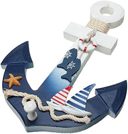 Amazon Com Mediterranean Style Wooden Nautical Anchor Wall Hanging Hook Ship Star Fish Decor Coat Door Rack Home Kitchen