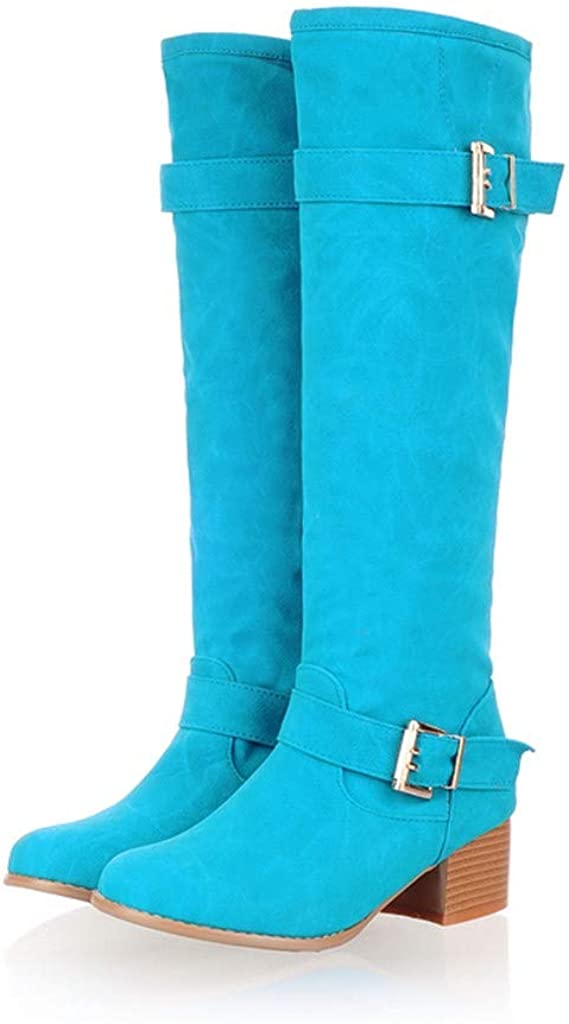 Briskorry Shoes Womens Regular Wide Calf and Extra Wide Calf Stacked Heel Faux Suede Over-The-Knee Boots