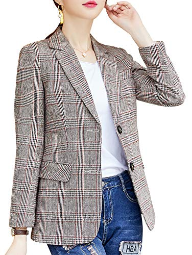 Khaki Sport Coat - Women's Blazer Jacket Corduroy Sport Coat Smart Formal Dinner Cotton Jacket Slim Fit Two Button Notch Lapel Coat Khaki