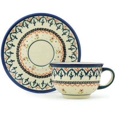 (Polish Pottery Cup with Saucer 7 oz Polish)