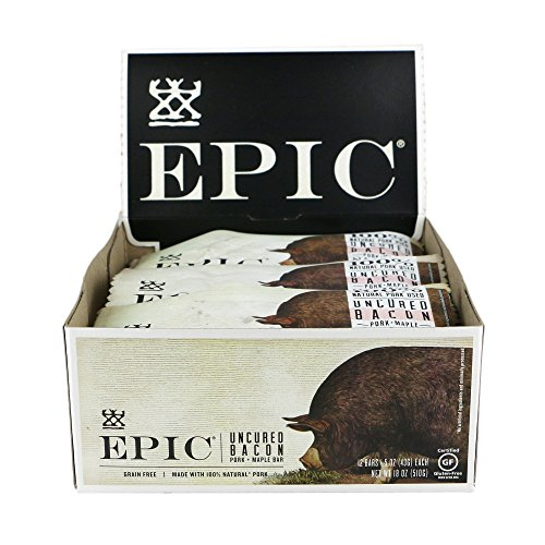 Buffalo Smoked Jerky - Epic All Natural Meat Bar, 100% Natural, Pork, Uncured Bacon & Maple, 1.5 oz. (12 Count)